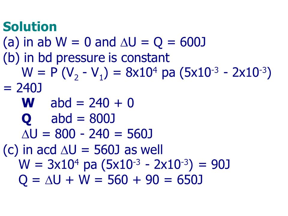 Solution (a) in ab W = 0 and DU = Q = 600J