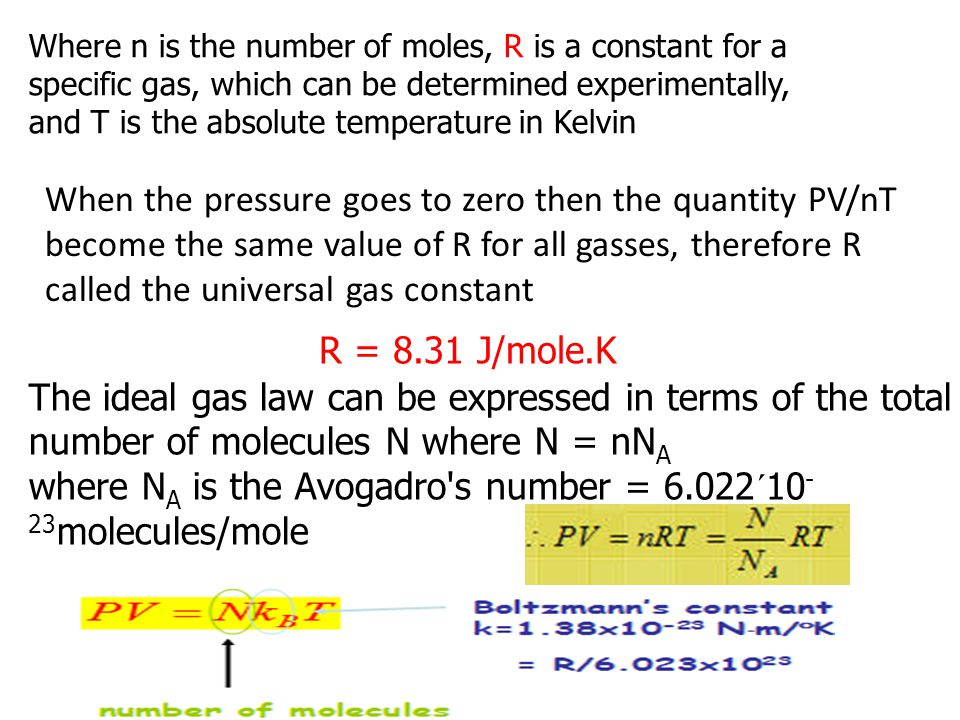 where NA is the Avogadro s number = 6.022´10-23molecules/mole
