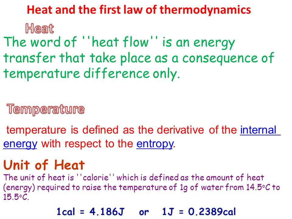 Heat Temperature Heat and the first law of thermodynamics