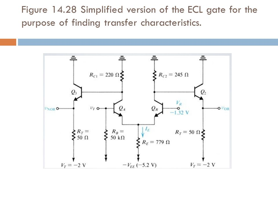 Figure 14.28 Simplified version of the ECL gate for the purpose of finding transfer characteristics.
