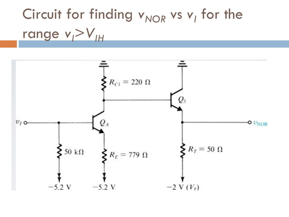 Circuit for finding vNOR vs vI for the range vI>VIH