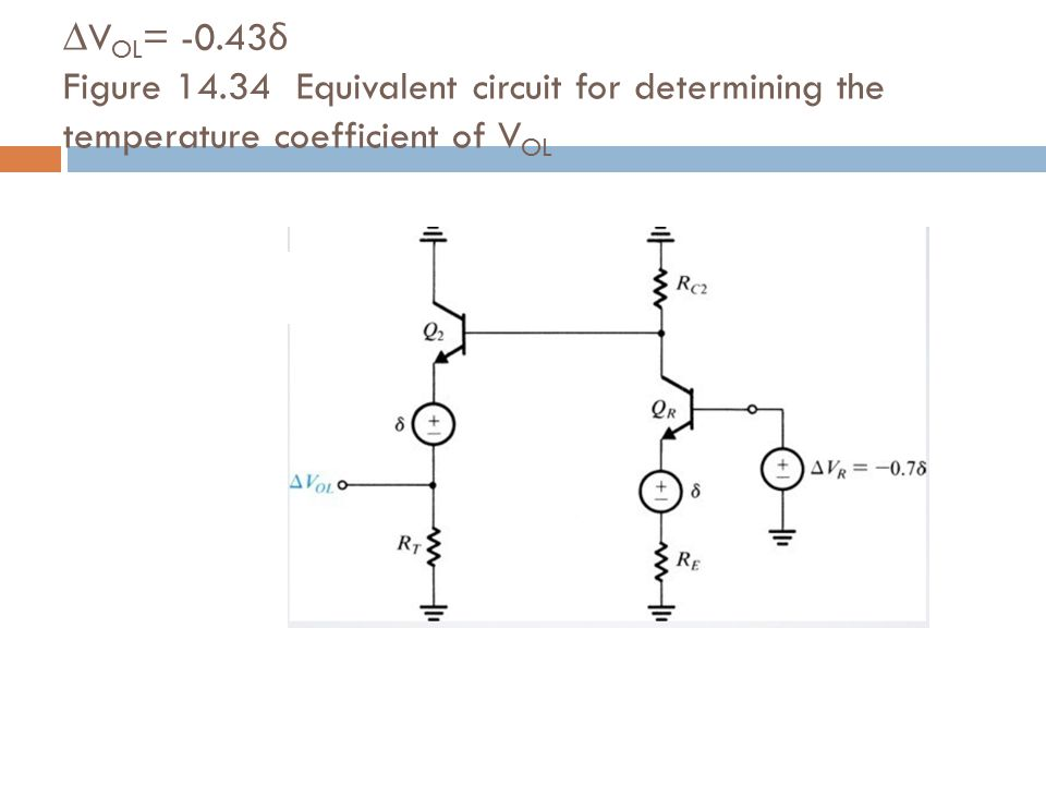 ∆VOL= -0.43δ Figure 14.34 Equivalent circuit for determining the temperature coefficient of VOL