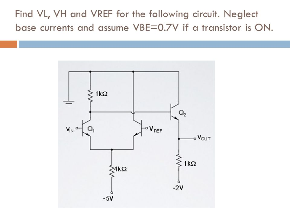 Find VL, VH and VREF for the following circuit