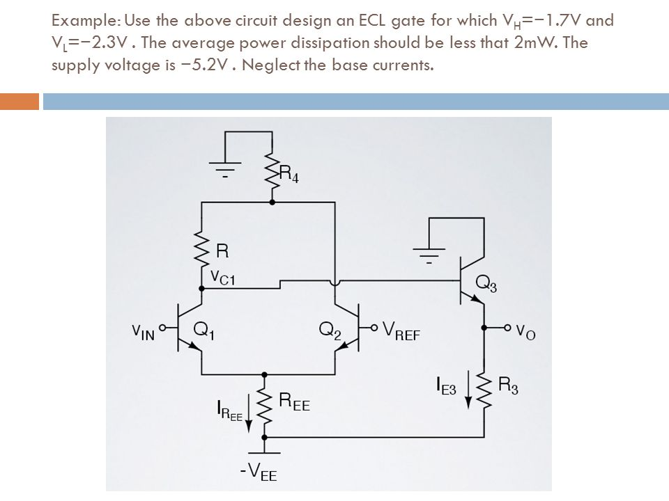 Example: Use the above circuit design an ECL gate for which VH=−1