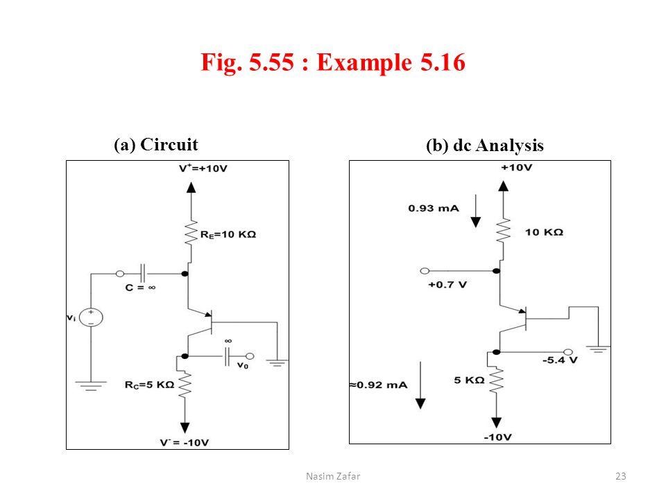 Fig. 5.55 : Example 5.16 (a) Circuit (b) dc Analysis Nasim Zafar