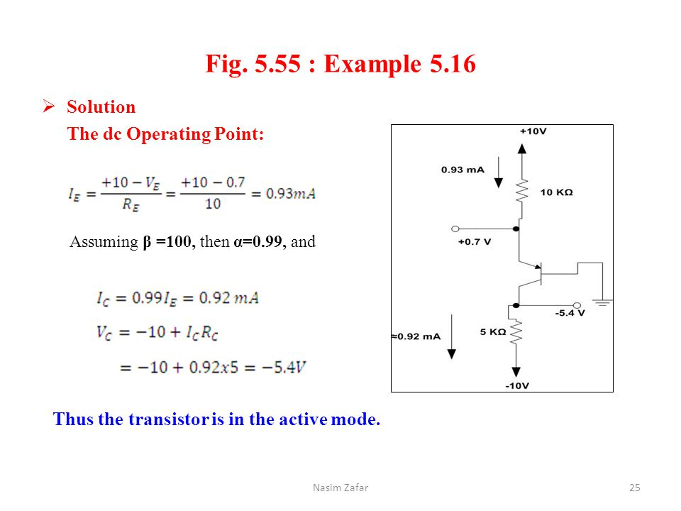 Fig. 5.55 : Example 5.16 Solution The dc Operating Point: