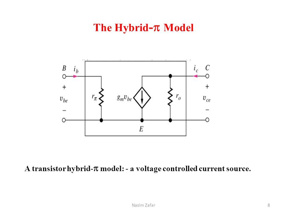 The Hybrid-p Model A transistor hybrid-p model: - a voltage controlled current source. Nasim Zafar
