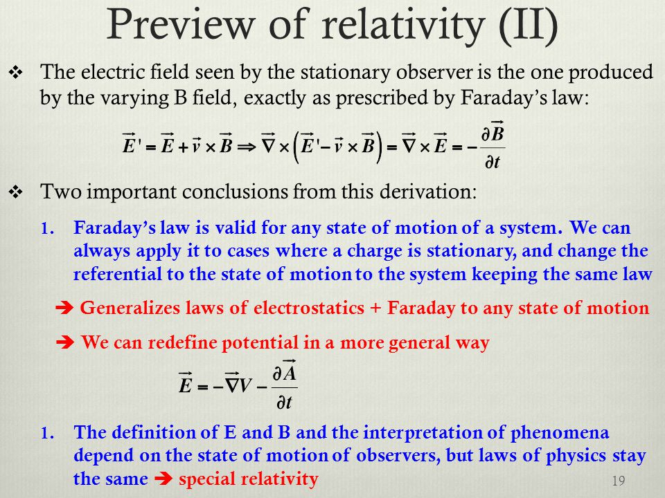 Preview of relativity (II)
