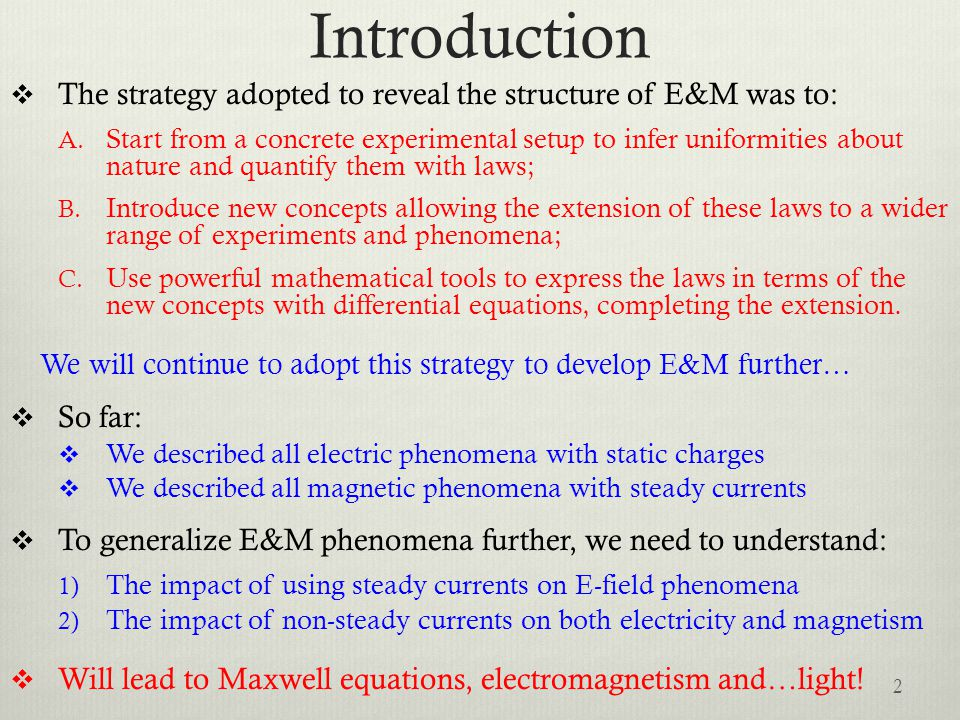 Introduction The strategy adopted to reveal the structure of E&M was to: