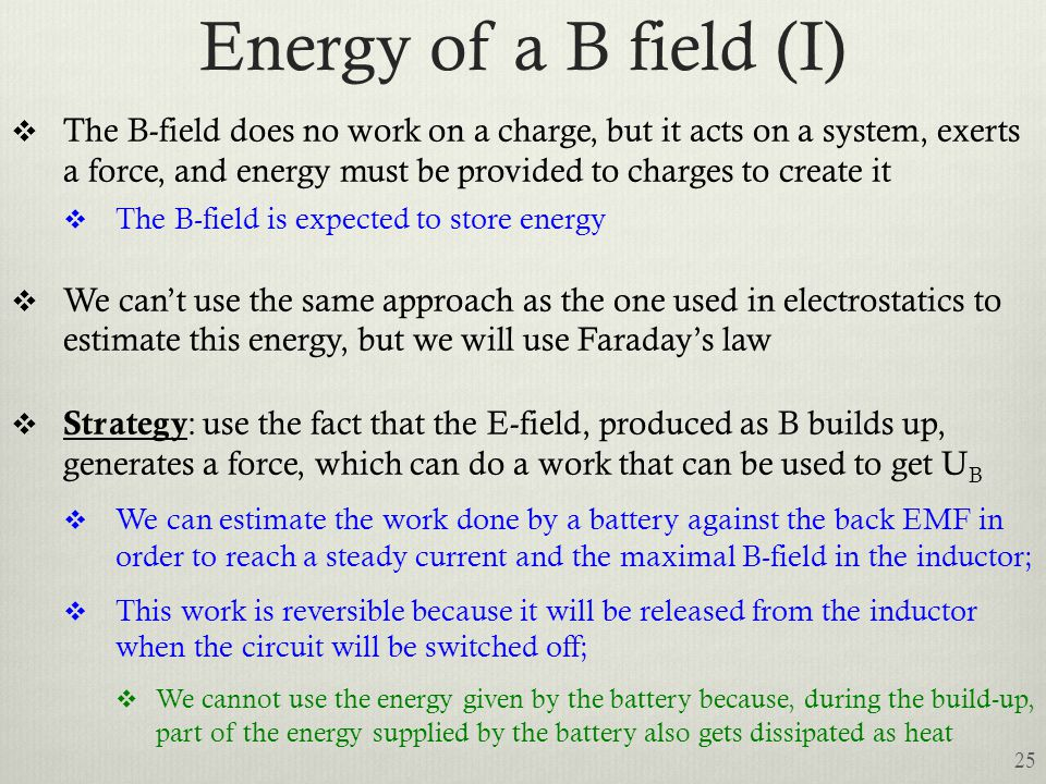 Energy of a B field (I)