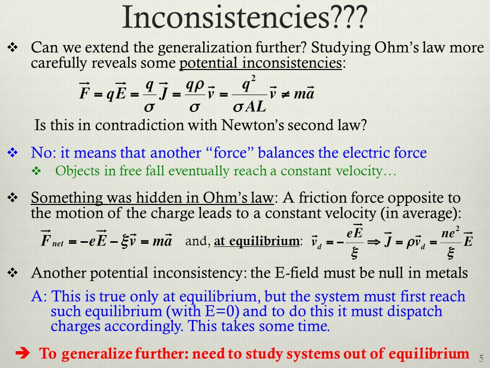 Inconsistencies Can we extend the generalization further Studying Ohm's law more carefully reveals some potential inconsistencies: