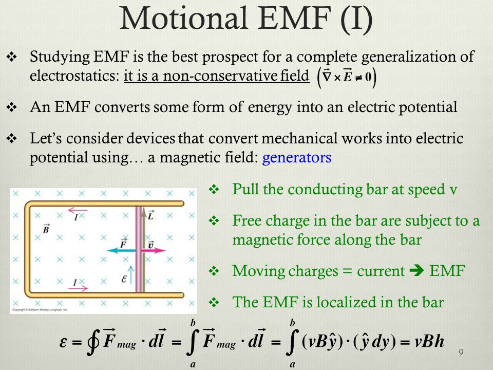 Motional EMF (I) Studying EMF is the best prospect for a complete generalization of electrostatics: it is a non-conservative field.