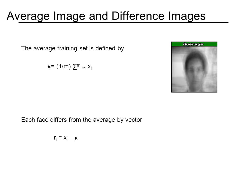Average Image and Difference Images