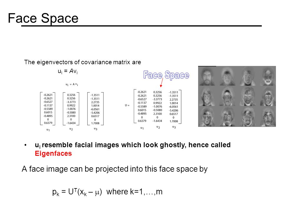 Face Space A face image can be projected into this face space by