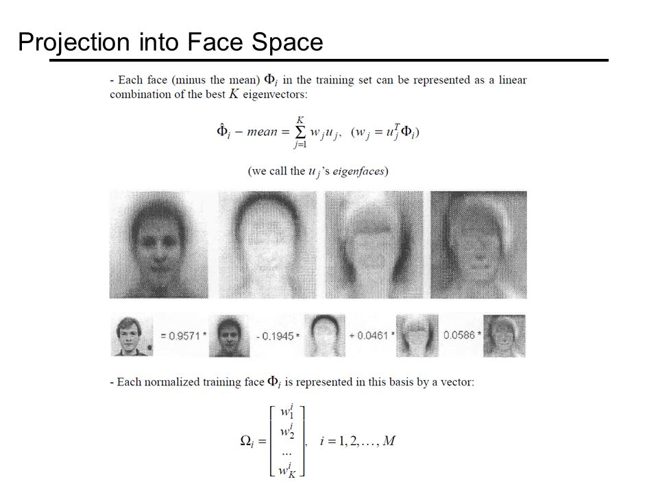 Projection into Face Space