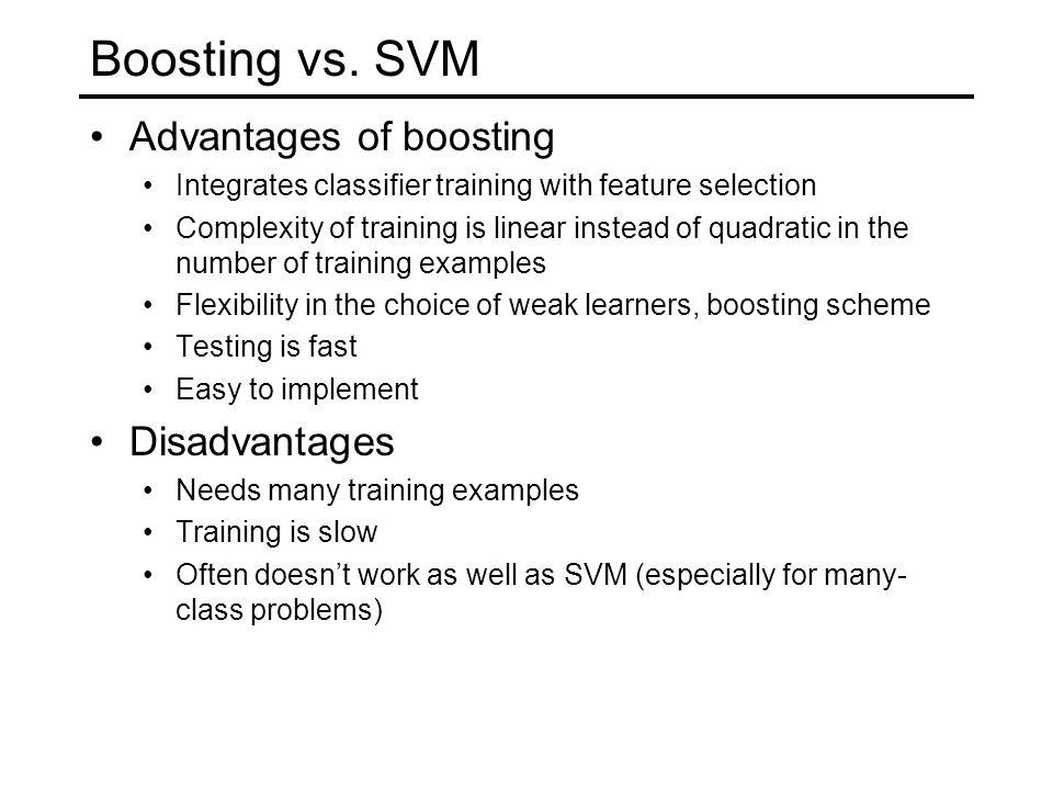Boosting vs. SVM Advantages of boosting Disadvantages