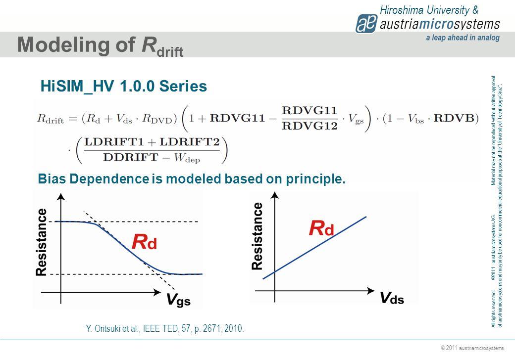 Modeling of Rdrift HiSIM_HV 1.0.0 Series