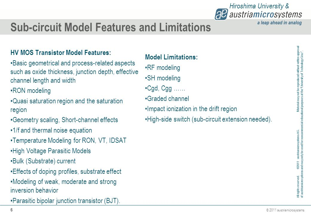 Sub-circuit Model Features and Limitations