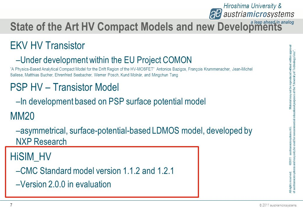 State of the Art HV Compact Models and new Developments