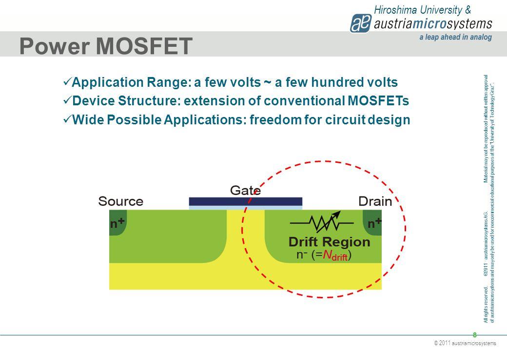 Power MOSFET Application Range: a few volts ~ a few hundred volts