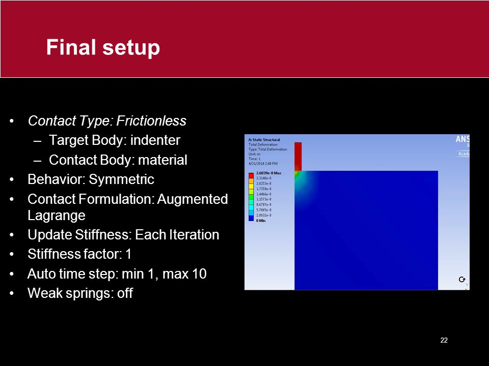 Final setup Contact Type: Frictionless Target Body: indenter