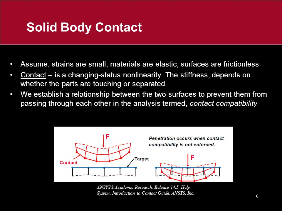 Solid Body Contact Assume: strains are small, materials are elastic, surfaces are frictionless.