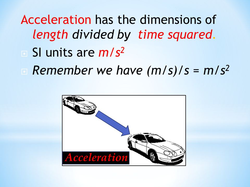 Acceleration has the dimensions of length divided by time squared.