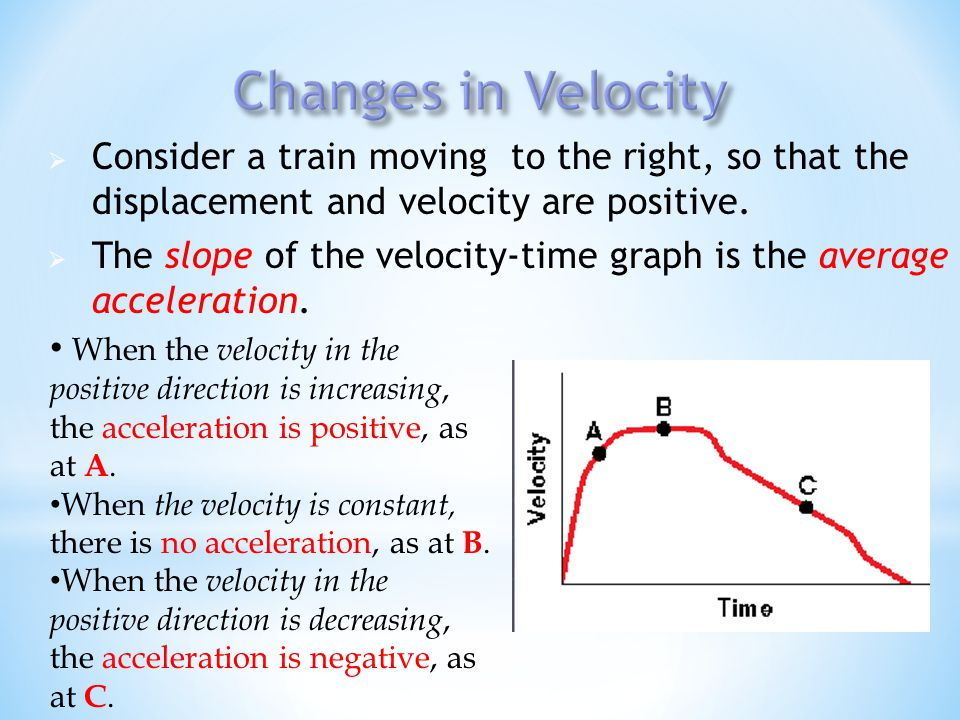 Changes in Velocity Consider a train moving to the right, so that the displacement and velocity are positive.