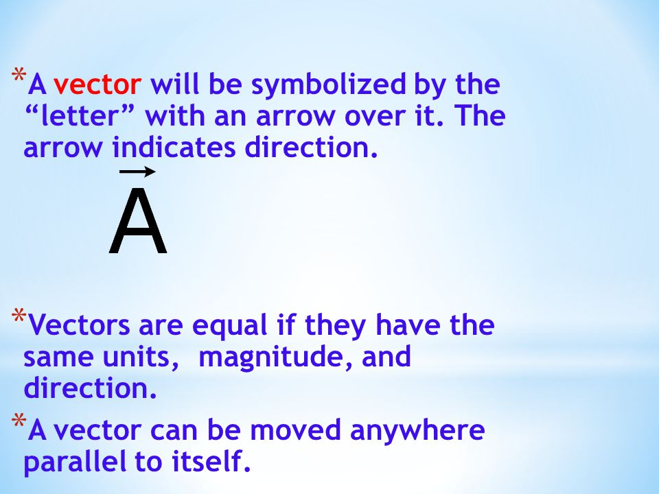 A vector will be symbolized by the letter with an arrow over it