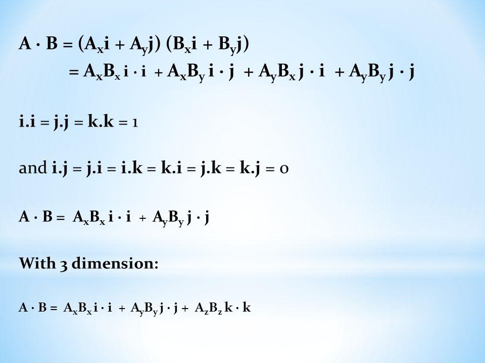A ∙ B = (Axi + Ayj) (Bxi + Byj)