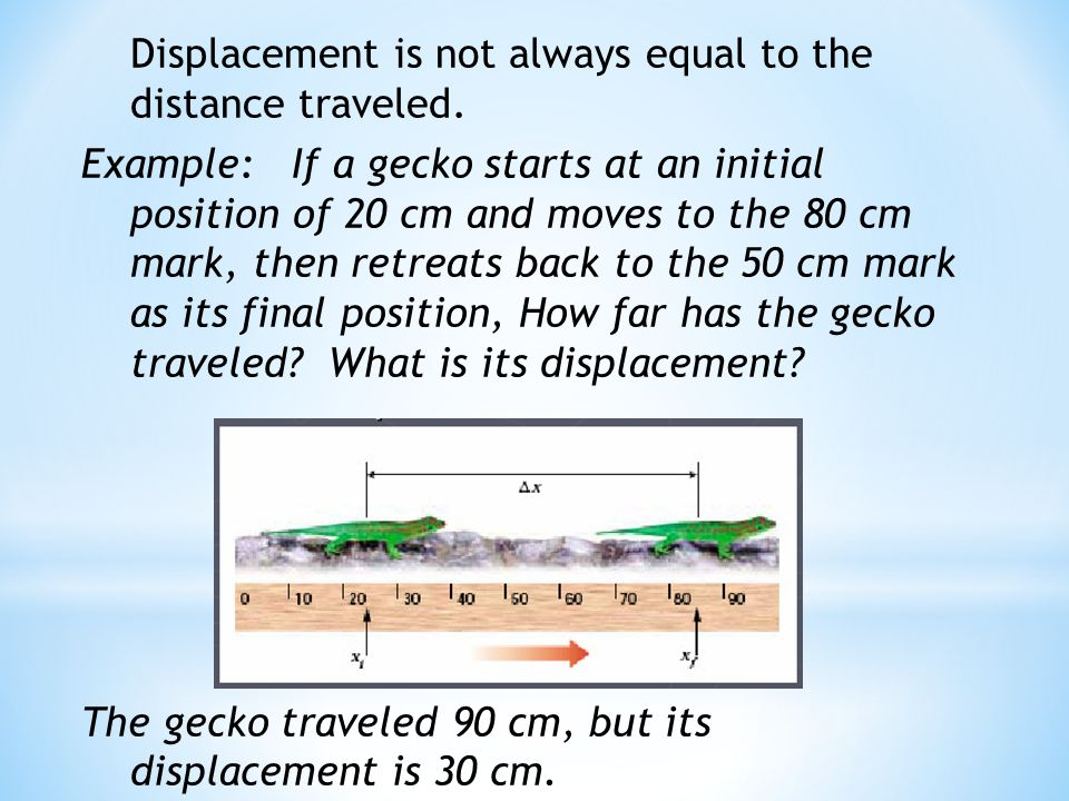 Displacement is not always equal to the distance traveled.