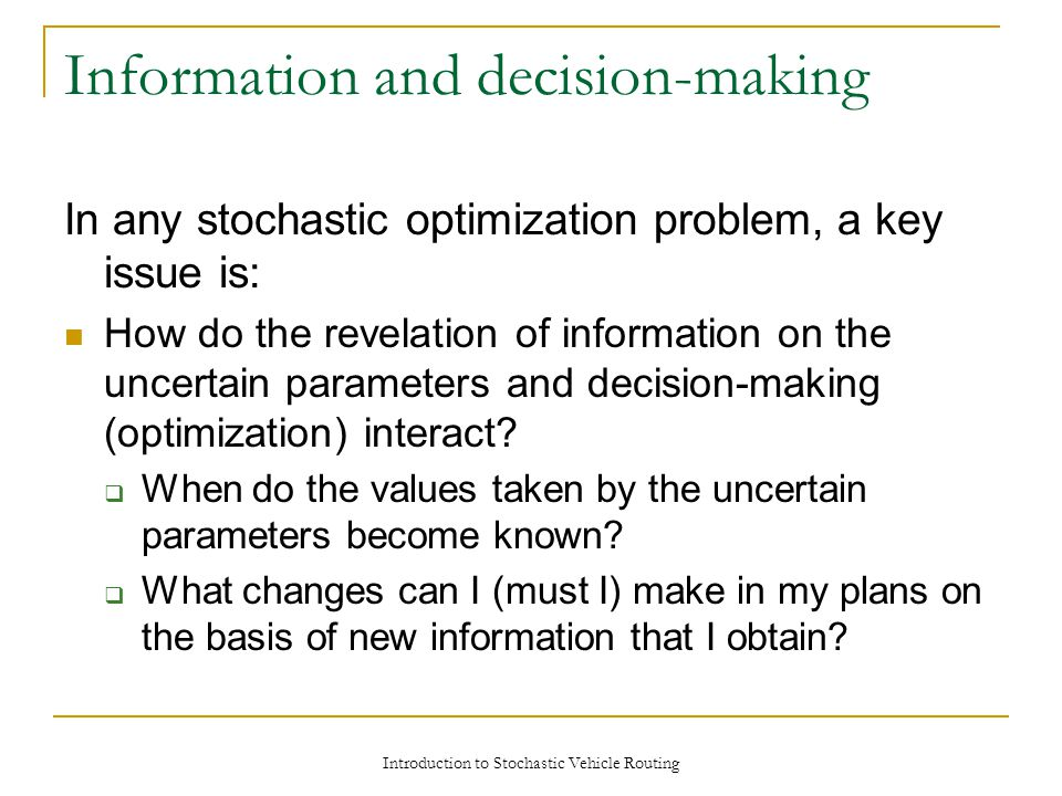 Information and decision-making