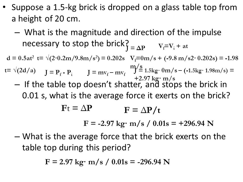 Suppose a 1.5-kg brick is dropped on a glass table top from a height of 20 cm.