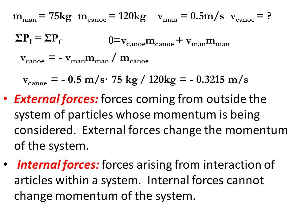 External forces: forces coming from outside the system of particles whose momentum is being considered. External forces change the momentum of the system.