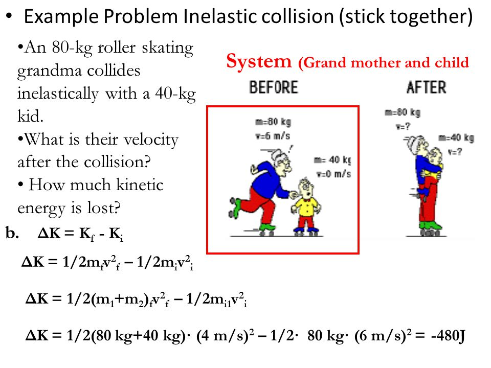 Example Problem Inelastic collision (stick together)