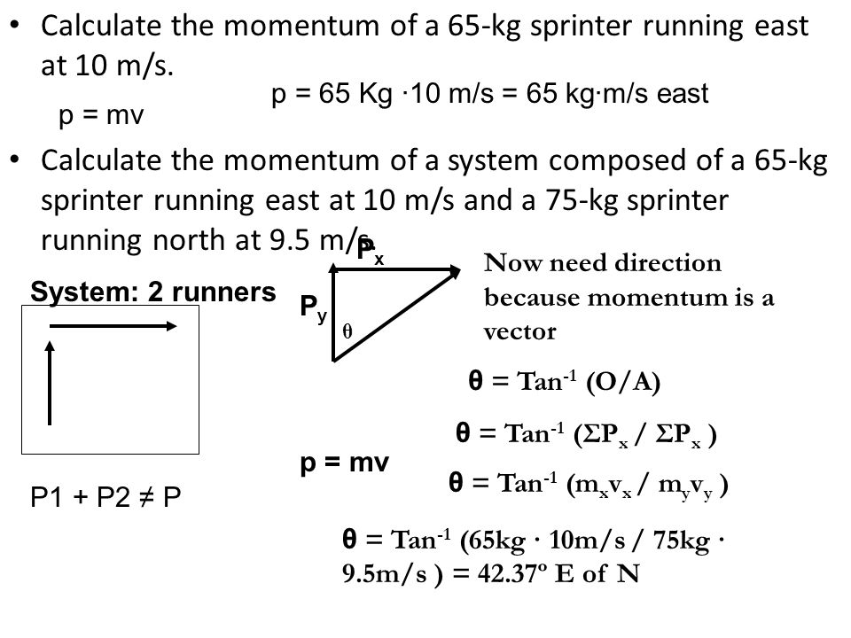 Calculate the momentum of a 65-kg sprinter running east at 10 m/s.