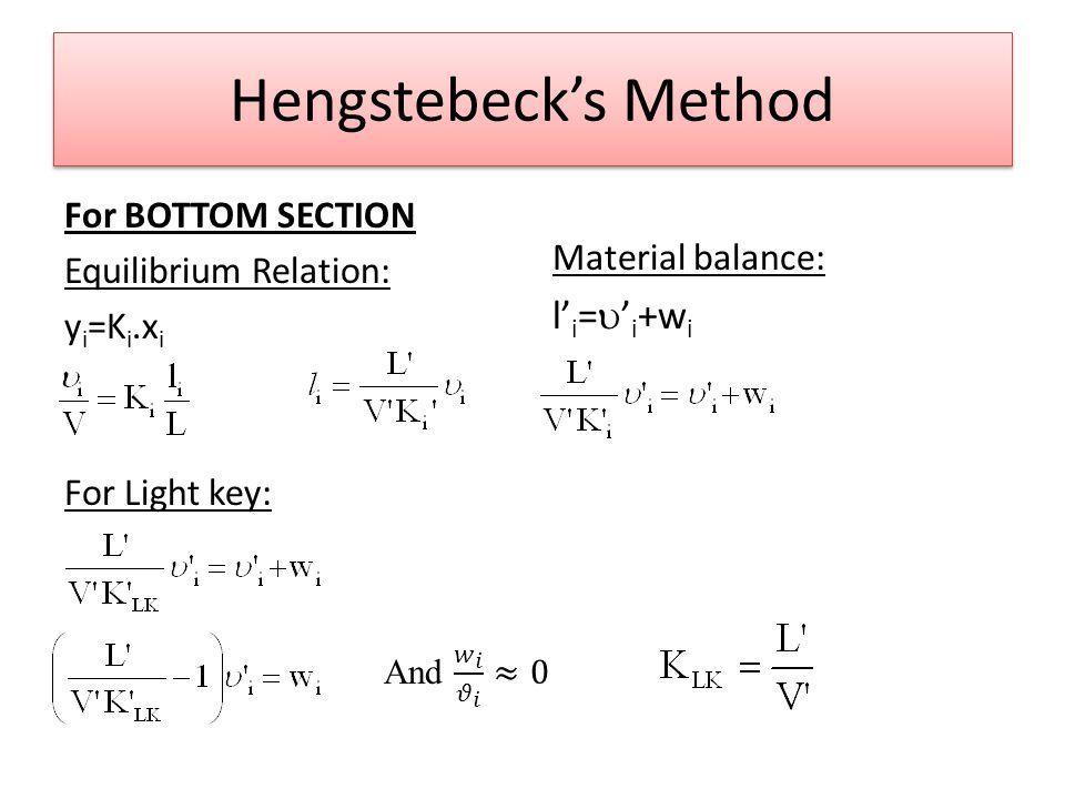 Hengstebeck's Method l'i=u'i+wi