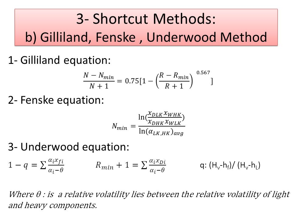 3- Shortcut Methods: b) Gilliland, Fenske , Underwood Method