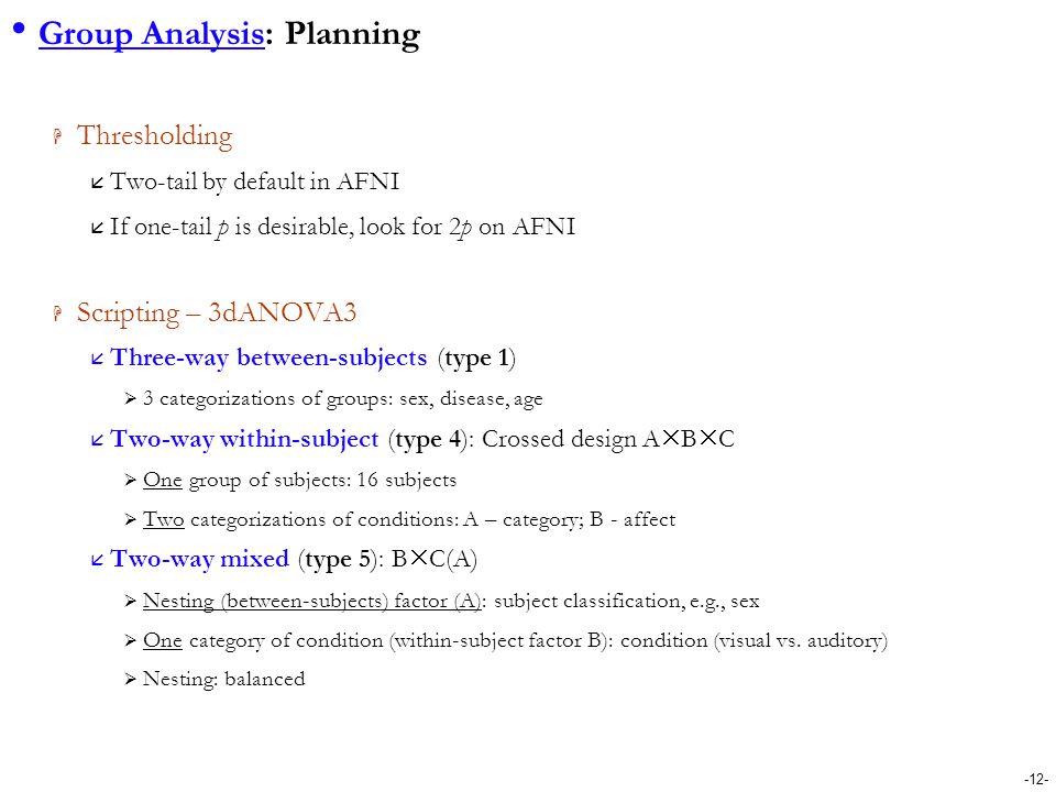Group Analysis: Planning