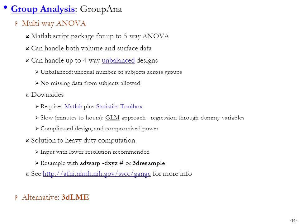 Group Analysis: GroupAna