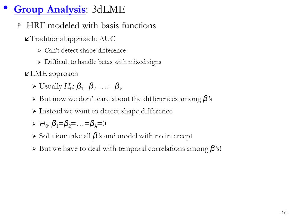 Group Analysis: 3dLME HRF modeled with basis functions