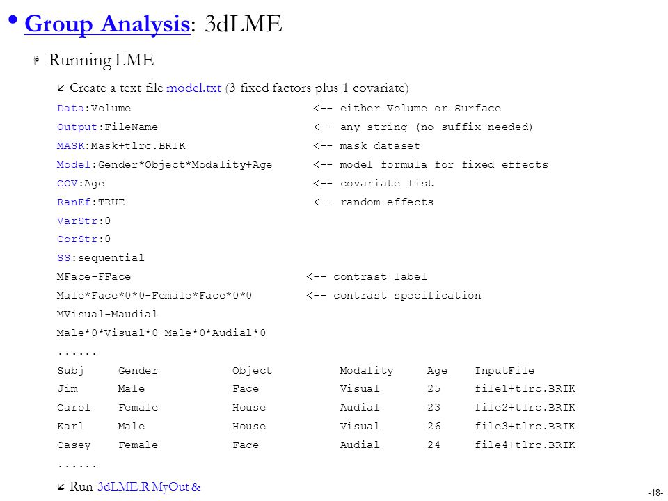 Group Analysis: 3dLME Running LME