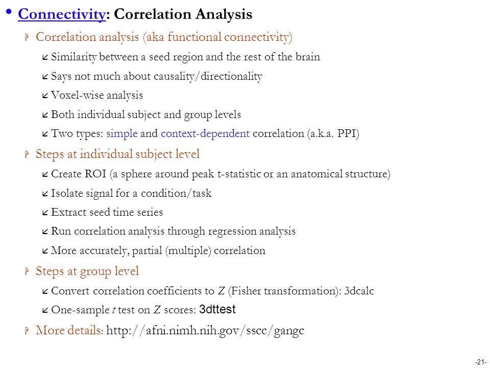 Connectivity: Correlation Analysis