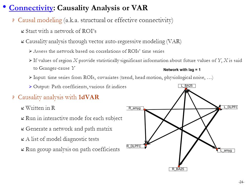 Connectivity: Causality Analysis or VAR