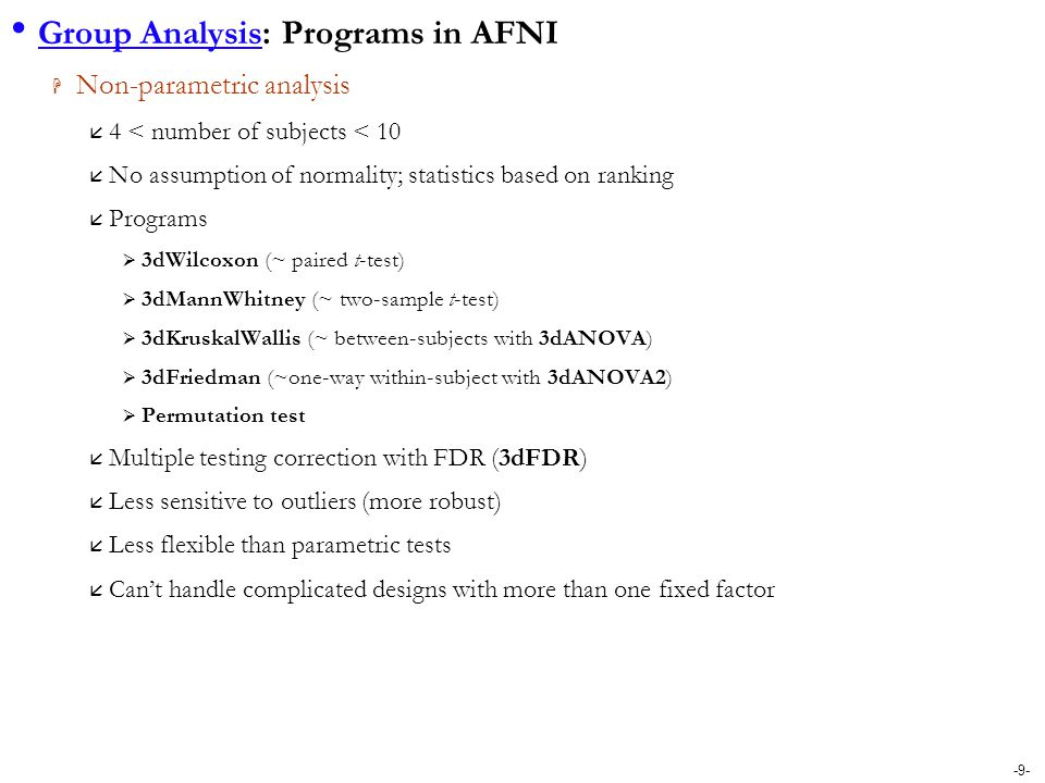 Group Analysis: Programs in AFNI
