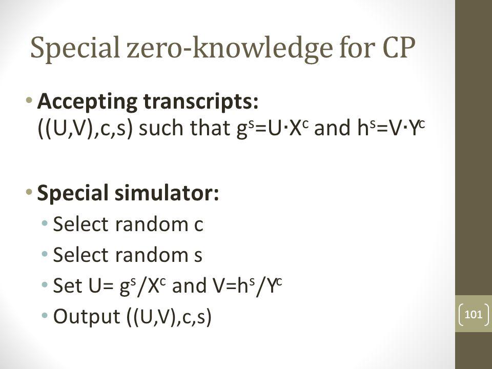 Special zero-knowledge for CP