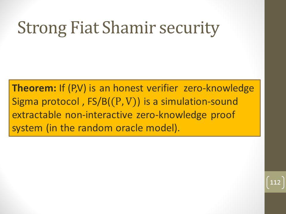 Strong Fiat Shamir security