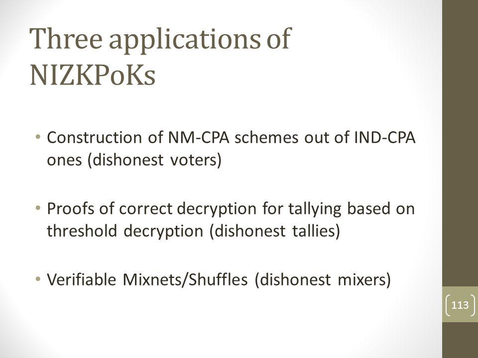 Three applications of NIZKPoKs