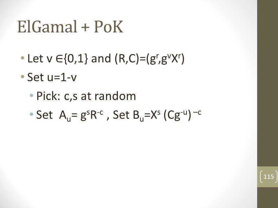 ElGamal + PoK Let v ∈{0,1} and (R,C)=(gr,gvXr) Set u=1-v