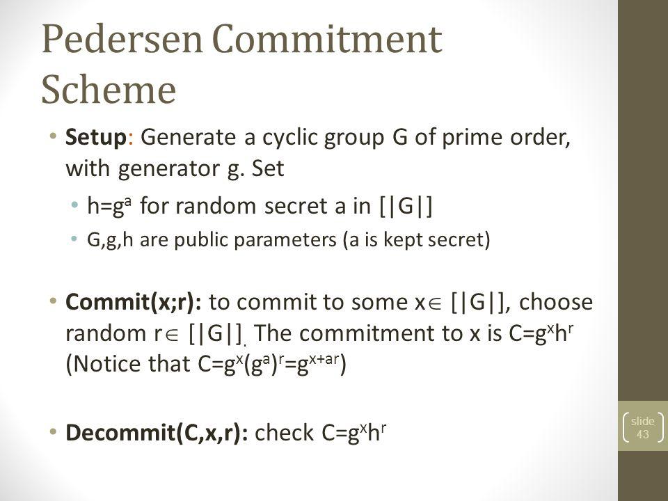 Pedersen Commitment Scheme